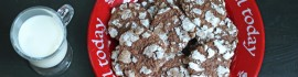 Chocolate Mint Snow Top Cookies on plate