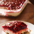 slice of pretzel berry dessert on plate