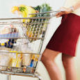 Woman Pushing Shopping Cart ca. 2002