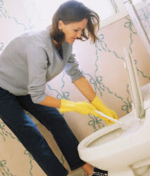 Woman Cleaning Toilet ca. 1999