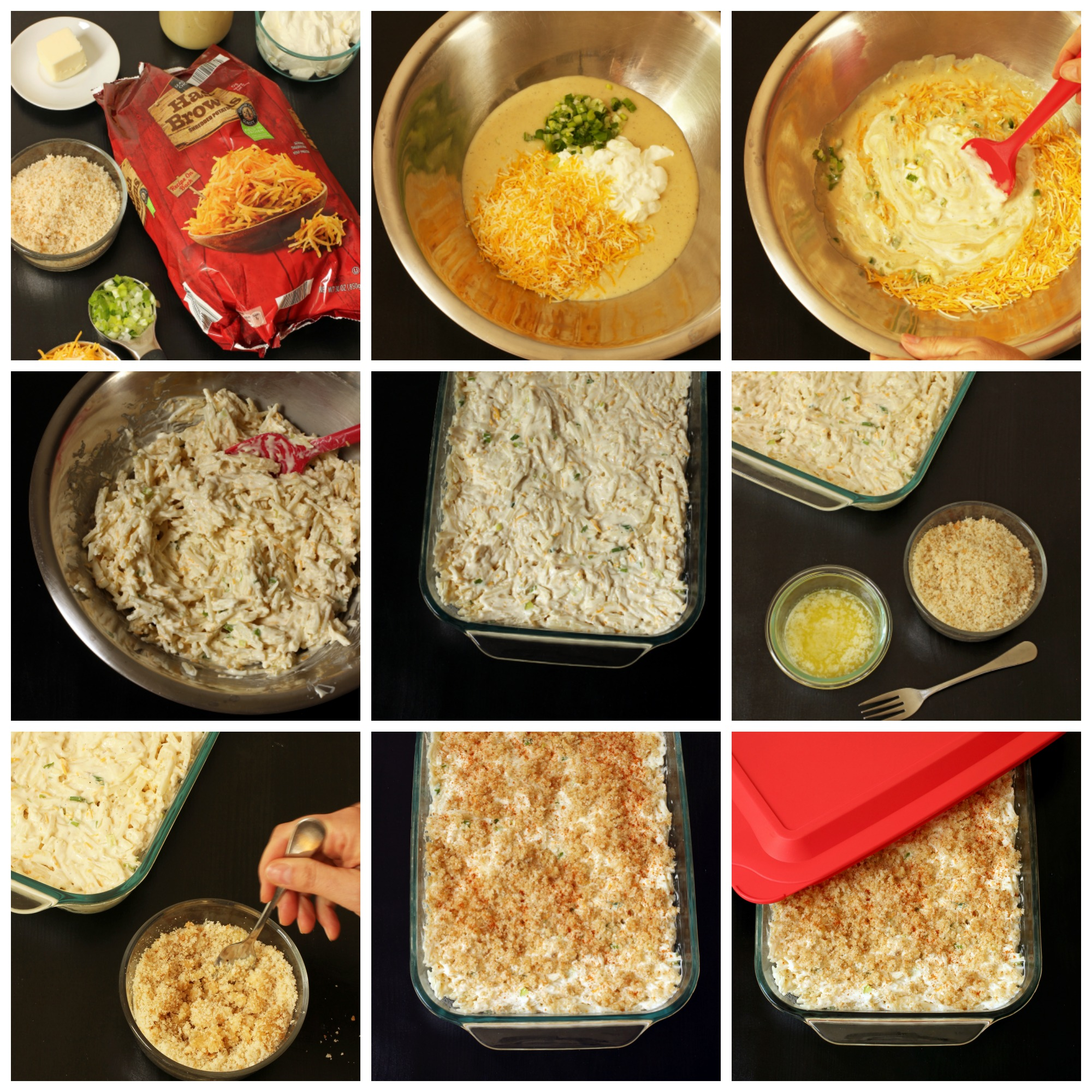 step-by-step photos of cheesy potatoes