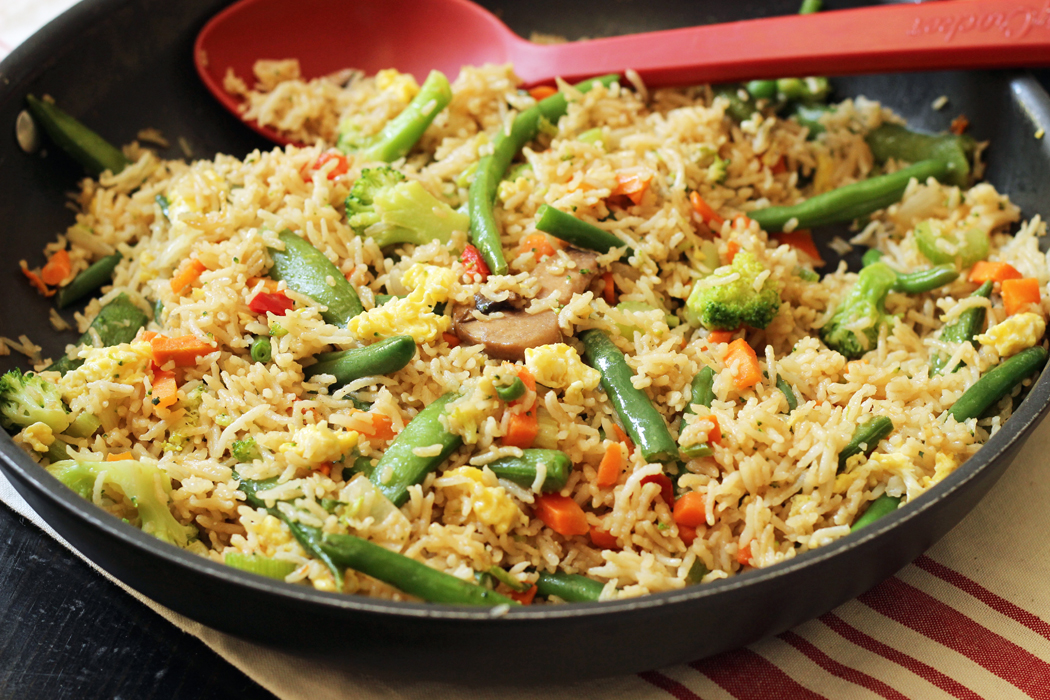 skillet with fried rice
