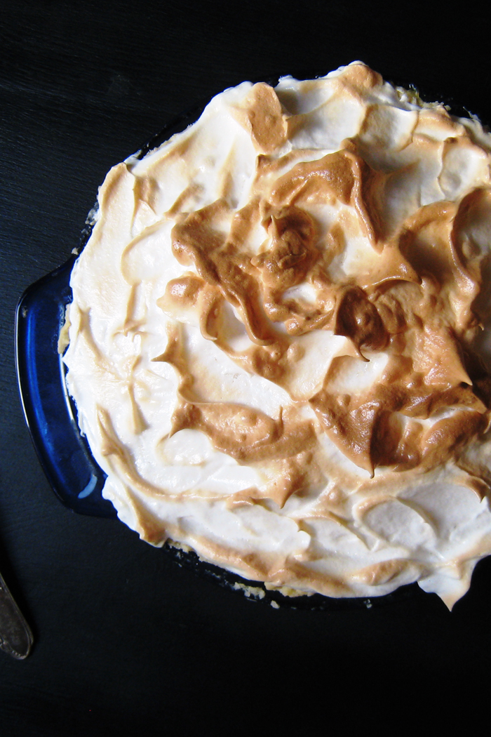 Lemon Meringue pie in blue pie plate