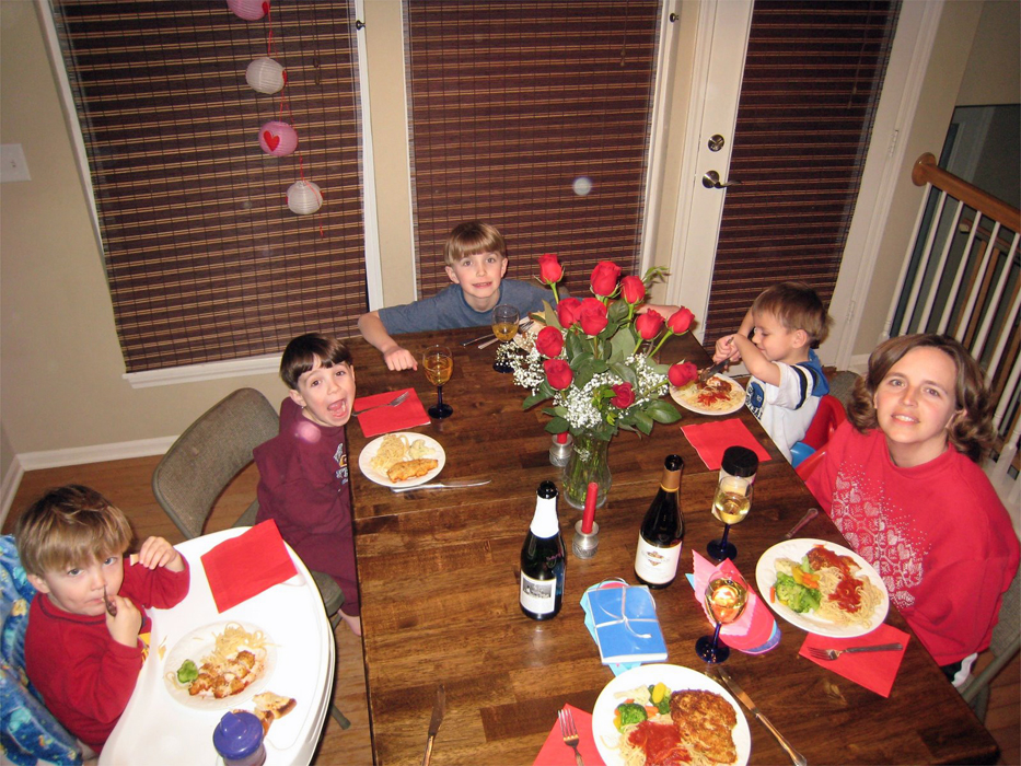 mom and sons at Valentine's Day table
