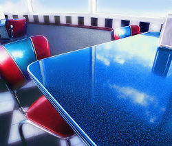 Tables and chairs in 50's style diner