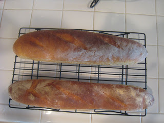 baked baguettes cooling on tray
