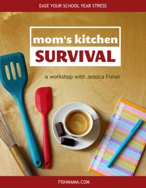 banner for mom's kitchen survival workshop