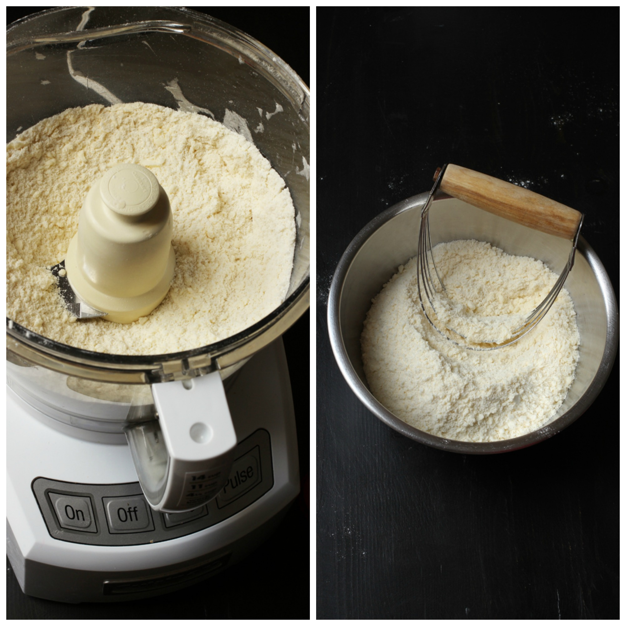 pie crumbs in food processor and in bowl with pastry blender