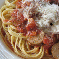 Wild Boar Italian Sausage with Spicy Tomato Sauce