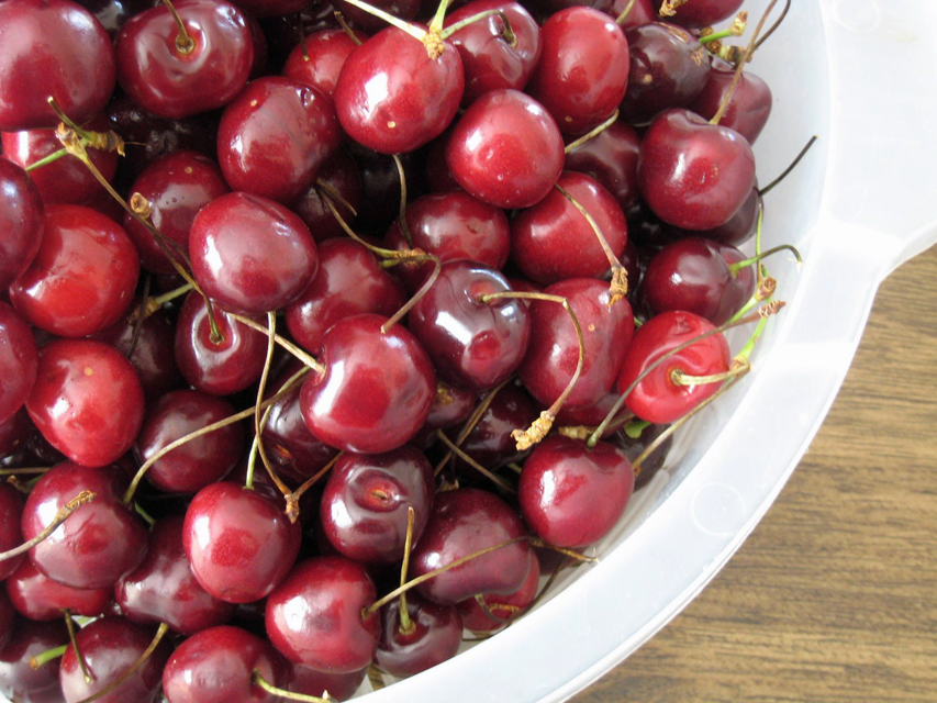fresh cherries in a white plastic colander