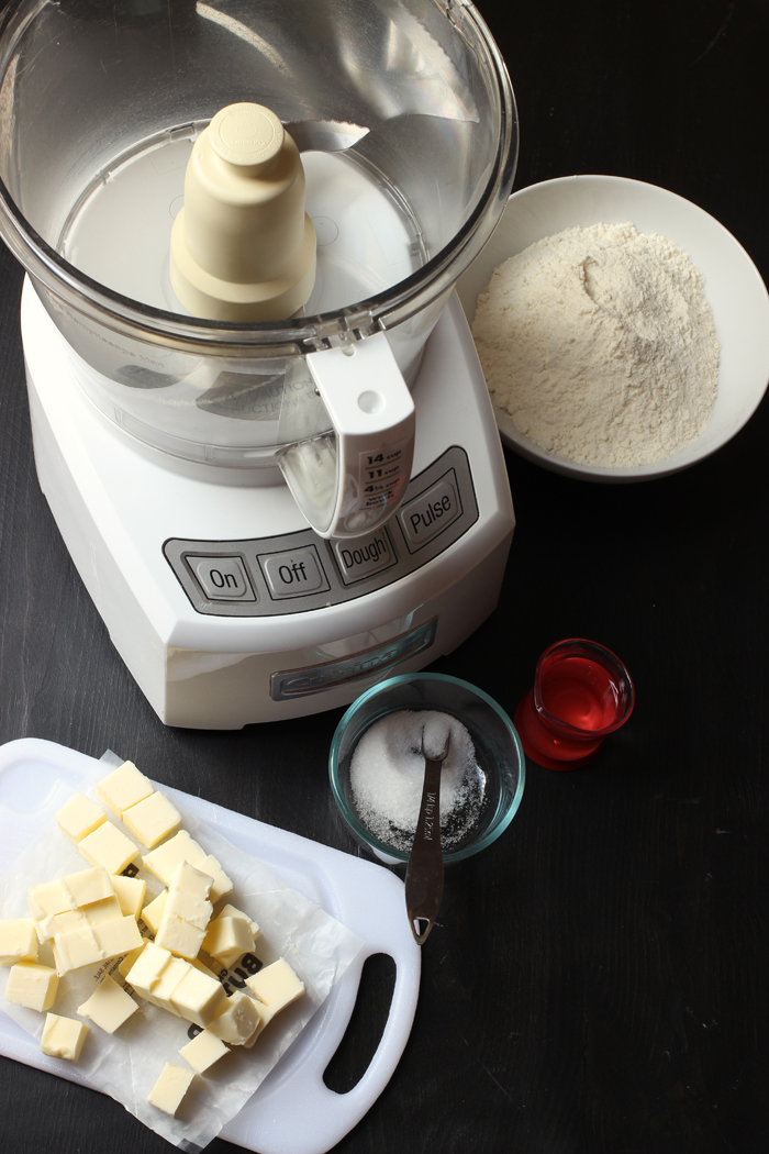 food processor and ingredients for homemade pie crust