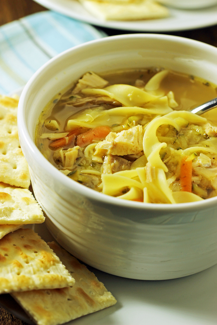 Chicken Noodle Soup | Life as Mom - Chicken Noodle Soup is an easy and economical dish that everyone loves! Stir up a pot of chicken broth with tender egg noodles, chunks of chicken, and slivers of vegetables. Soup is good food!