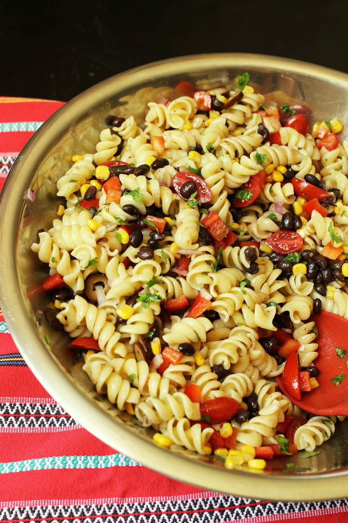 metal bowl of southwest rice pasta salad