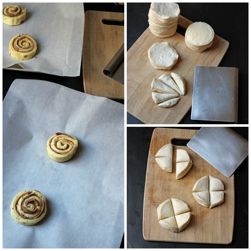 cinnamon rolls and biscuits cut before assembly