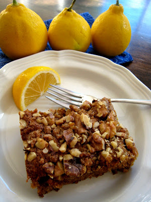 a piece of Lemon Walnut Coffeecake on a  plate