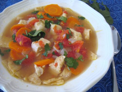 A bowl of Tortilla soup