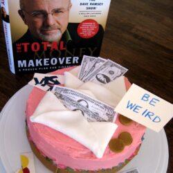 fondant cash envelopes on a debt-free cake
