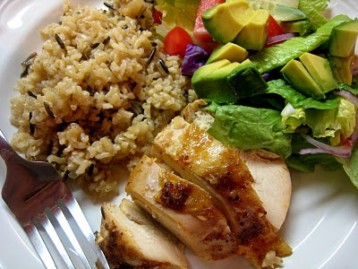 A plate of Chicken and Wild rice
