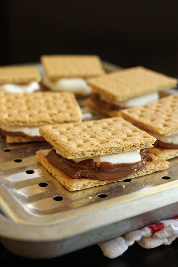 s'mores on a broiler pan