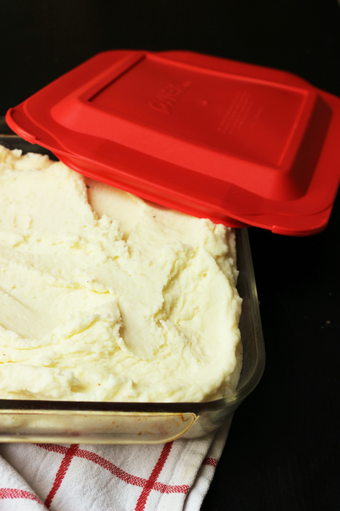 mashed potatoes in freezer-safe container