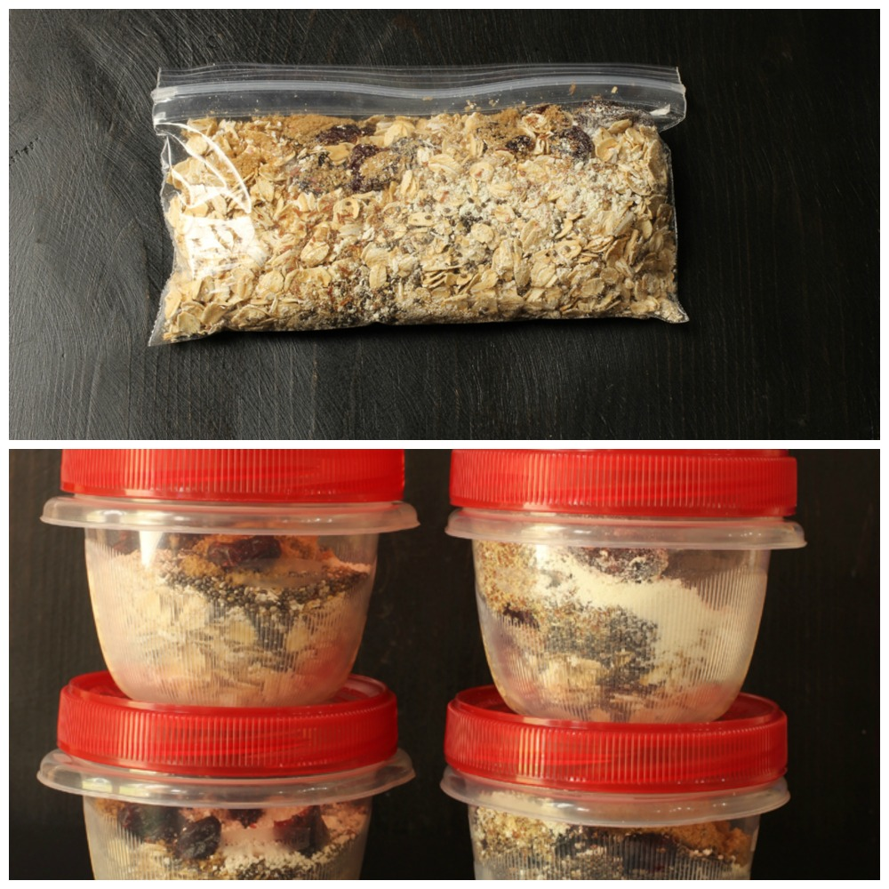 packaged instant oatmeal mixing a baggie and in bowls with lids