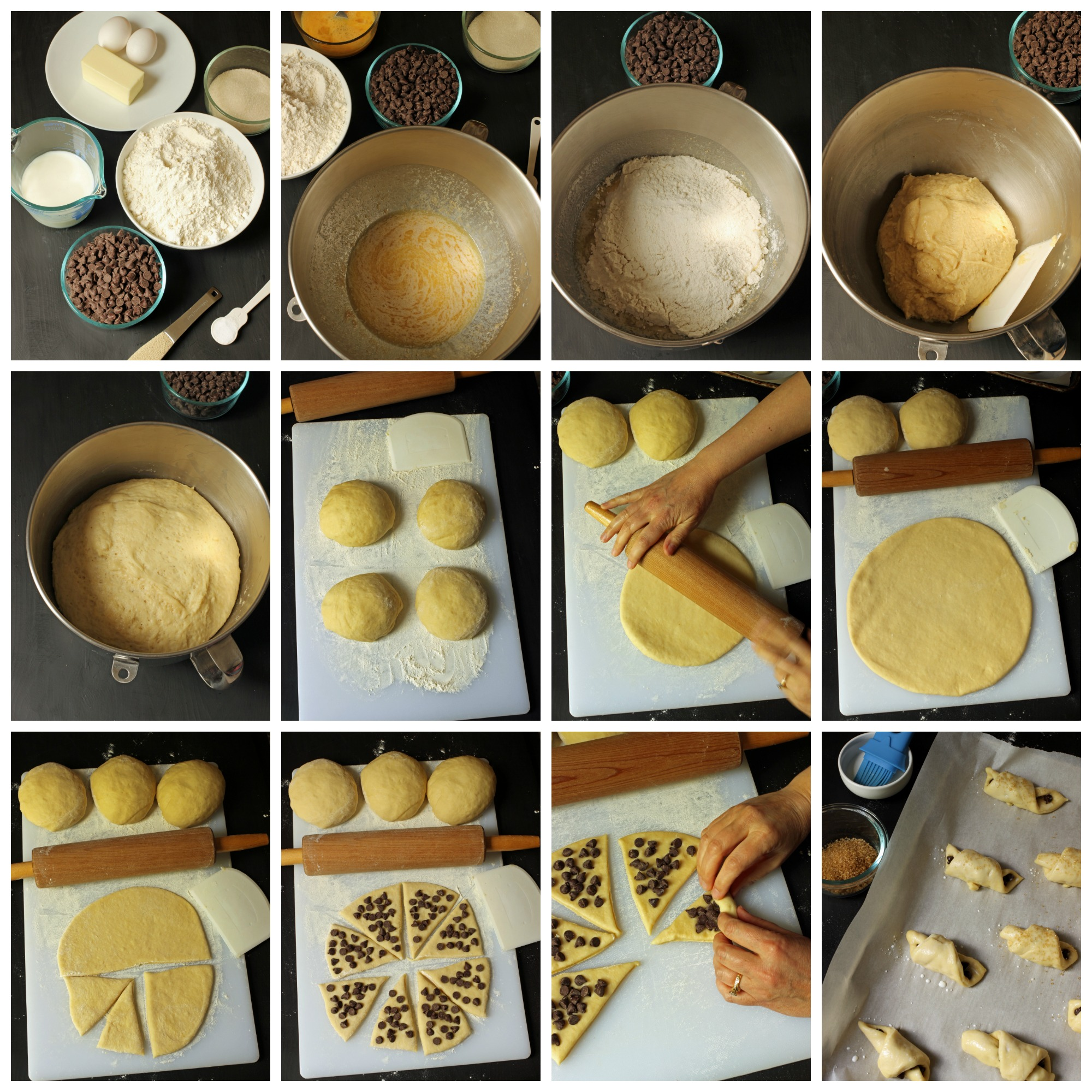 collage of steps in making Chocolate Butterhorns