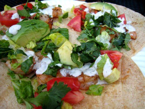 close up of shrimp tacos on a plate