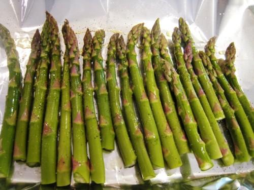 asparagus spread on a tray