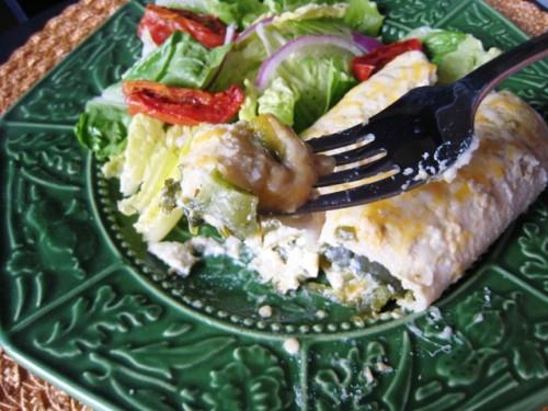 A plate of Padilla chile enchiladas