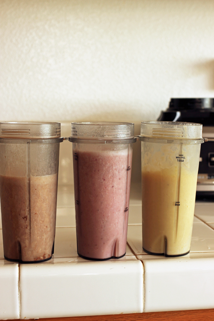 diy smoothie bar cups in a row