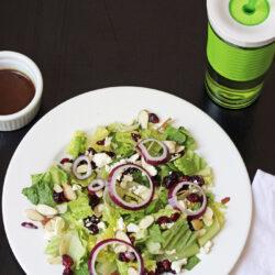 Simple Romaine Salad with Cranberries & Feta