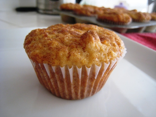 A close up of an apple muffin on a plate