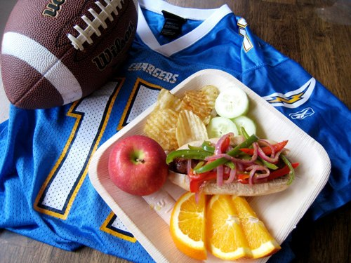 chargers brats with peppers