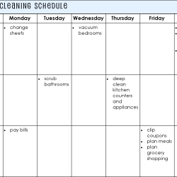 Establishing a Cleaning Schedule