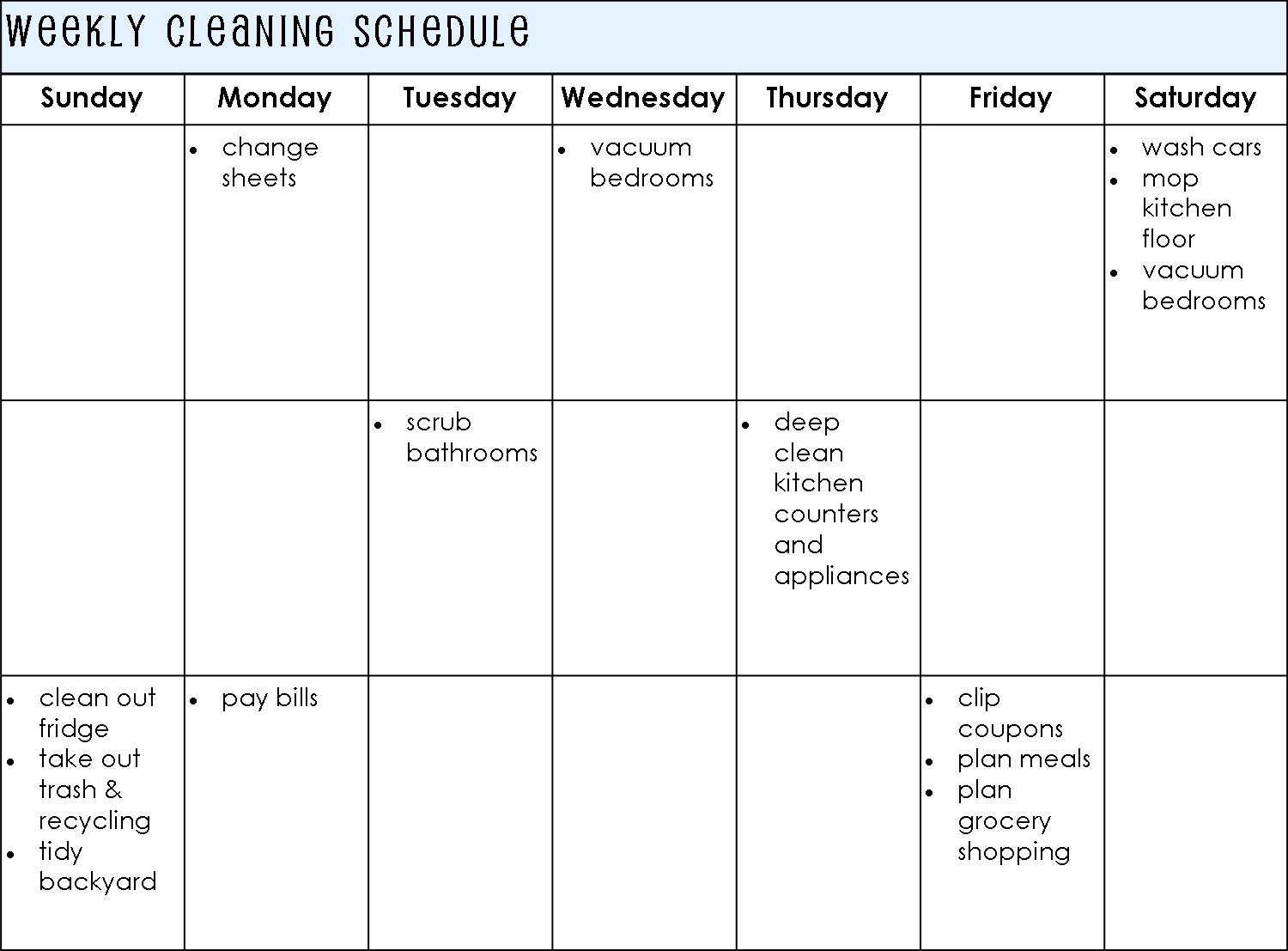House cleaning house cleaning plan weekly meals for Janitorial schedule template