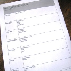 meal plan sheet