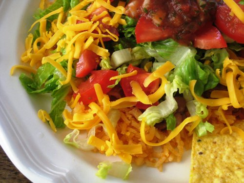 A close up of taco salad