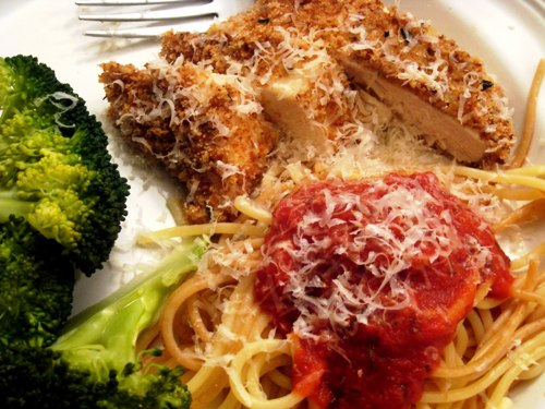 A close up of Chicken parmesan