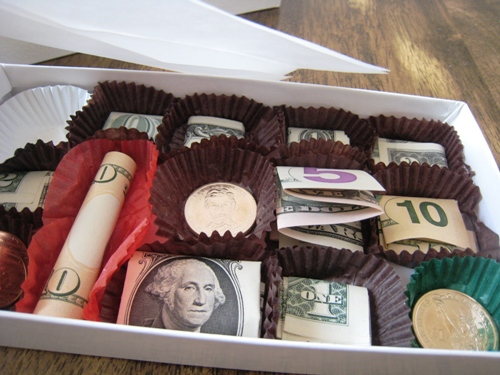Money in a Chocolate Box! Easy tutorial for giving a money gift creatively.