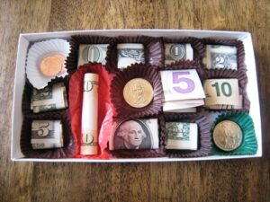Money gift in box of chocolates