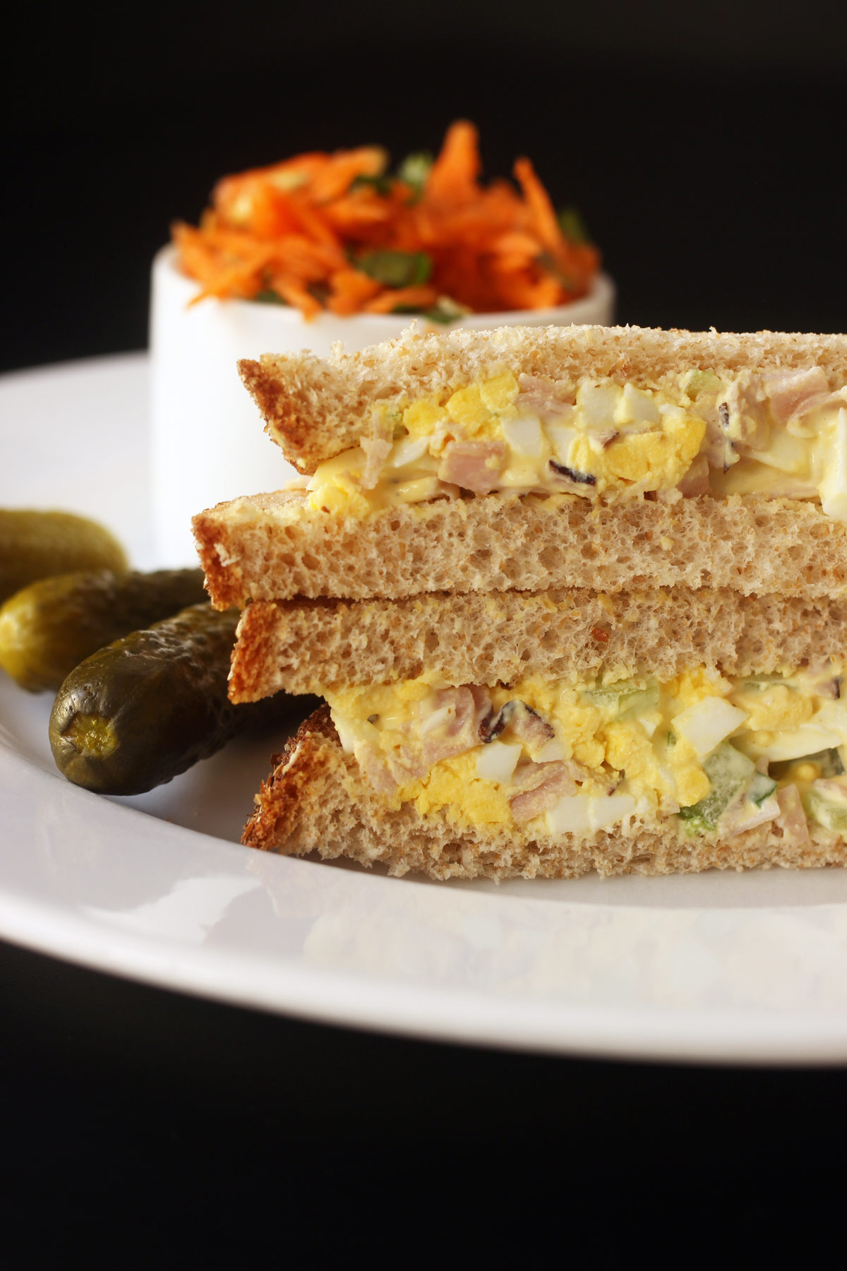 ham and egg salad sandwich with pickles