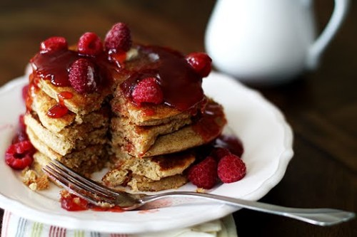 A close up of a stack of Pancakes