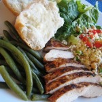 grilled chicken dinner couscous green beans