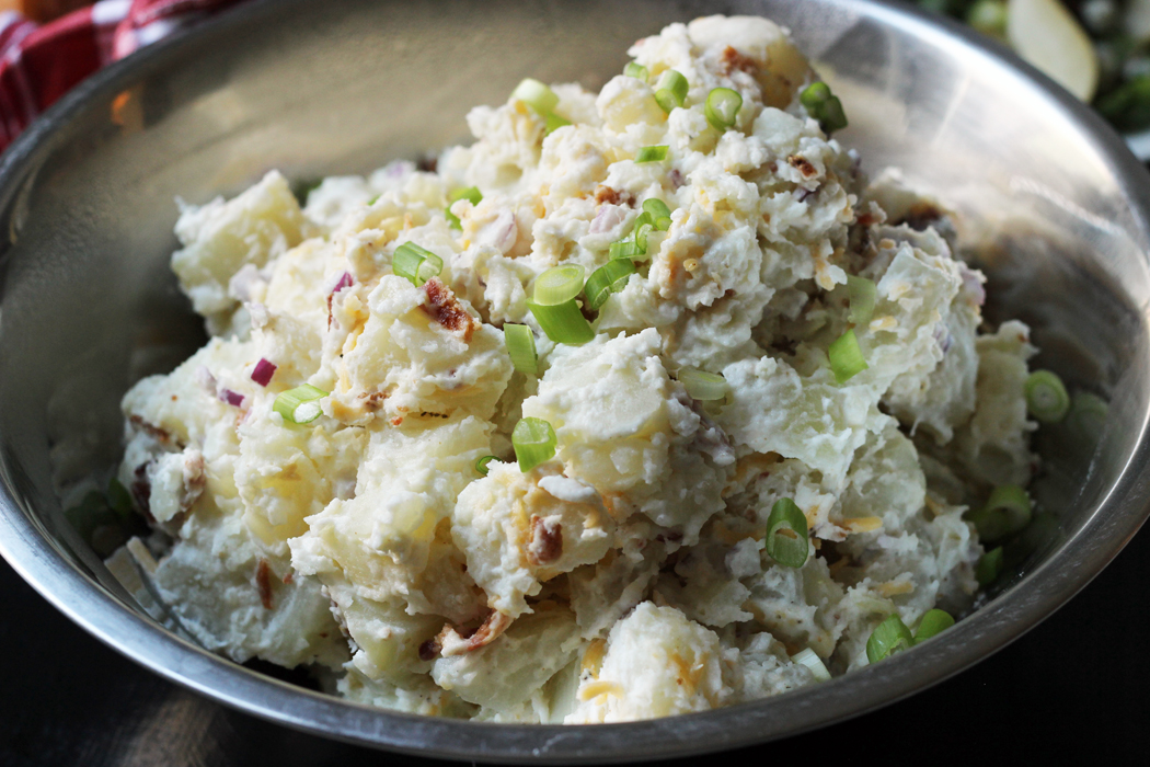 bowl of loaded potato salad