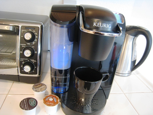 Coffee and Keurig machine on counter