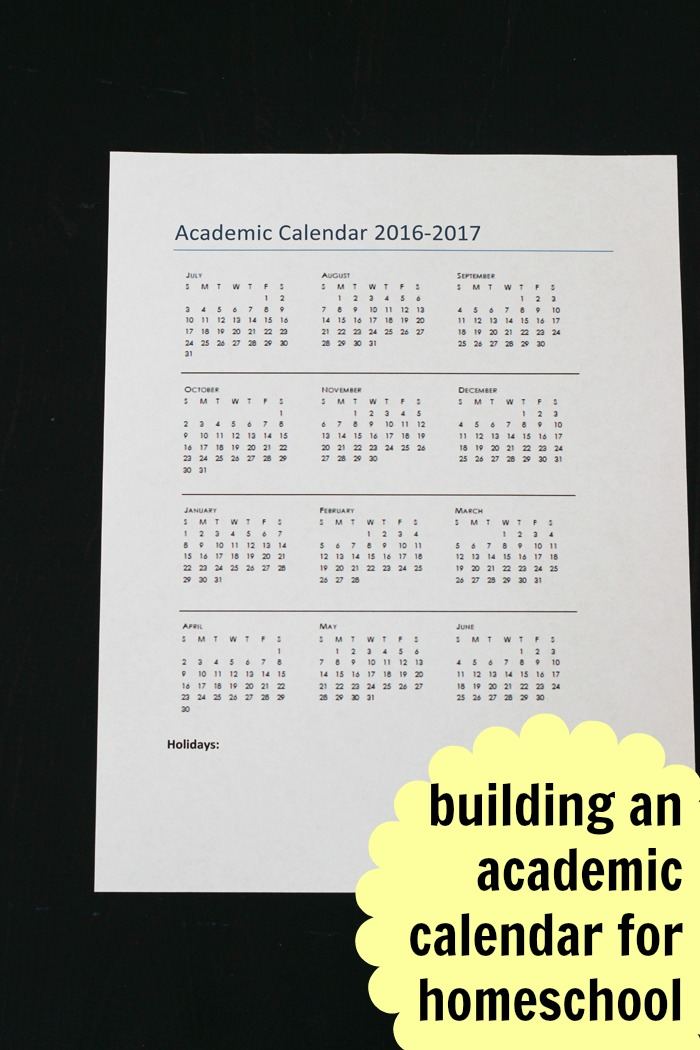 Building Your Academic Calendar for Homeschooling | Life as Mom
