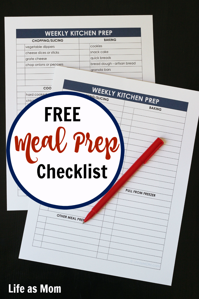 Weekly Meal Prep: Get the FREE Planning Page | Life as Mom