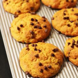 muffin pan full of pumpkin chocolate chip muffins