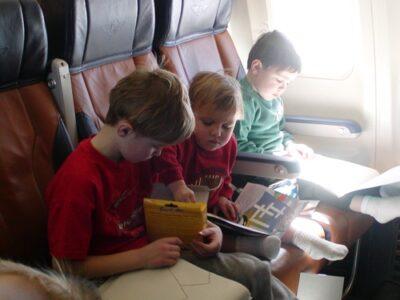 boys on airplane ride