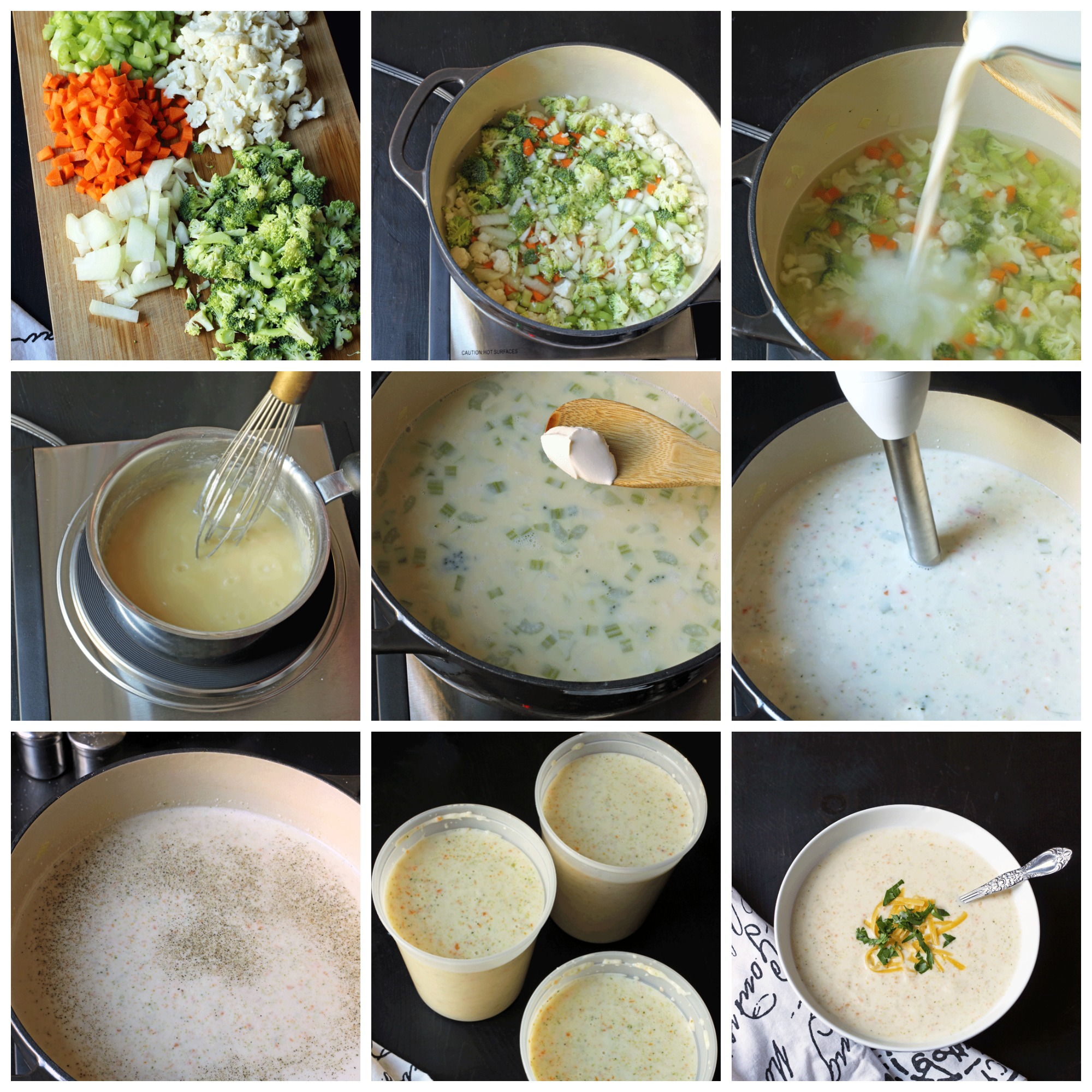collage of prep steps to make soup